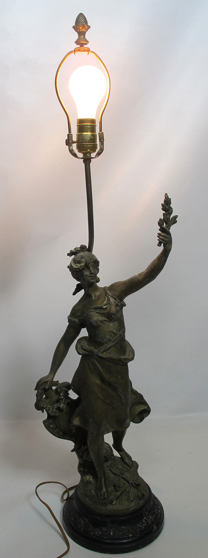 Antique Louis Moreau Signed French Bronze Spelter Figural Lamp Greek Goddess Yqz Ebay